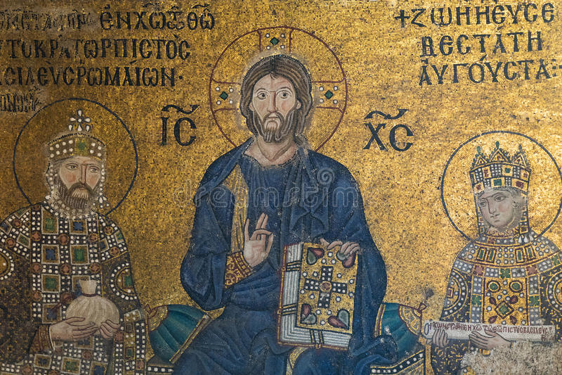 在圣索非亚大教堂内部的拜占庭式的马赛克 免版税库存照片