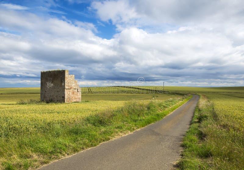 在圣Monans,苏格兰,英国附近的鼓笛沿海道路乡下风景 图库摄影