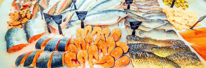 在在超级市场的柜台的冰的鲜鱼的一种大选择 库存照片