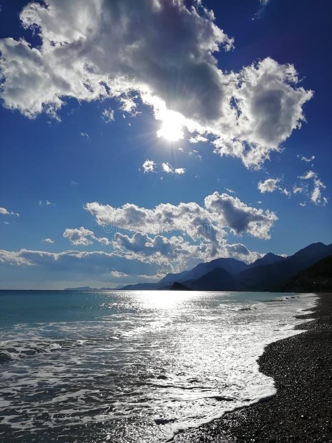 在地中海海岸的晚上 库存照片