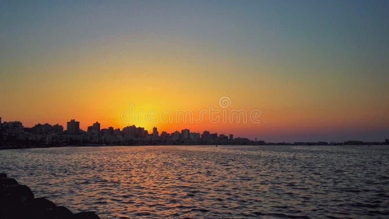 在地中海的日落在亚历山大 库存图片