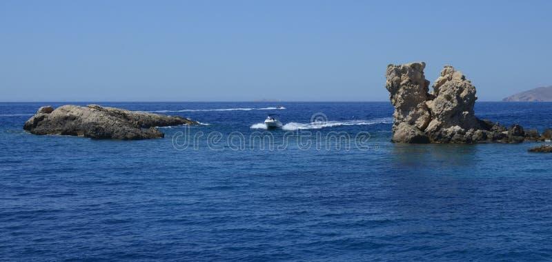 在地中海的汽船 库存照片