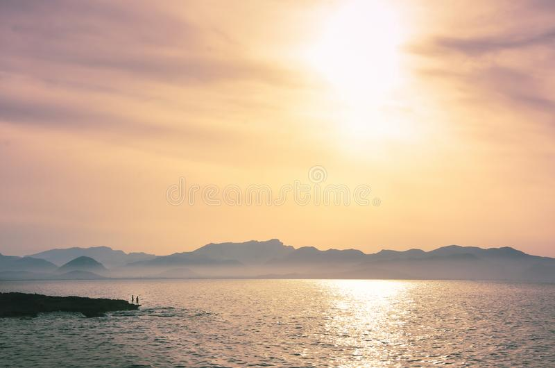 在地中海的美好的日落 免版税库存图片