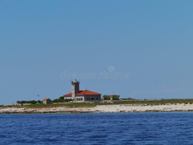 在地中海的Grujica灯塔 免版税库存照片