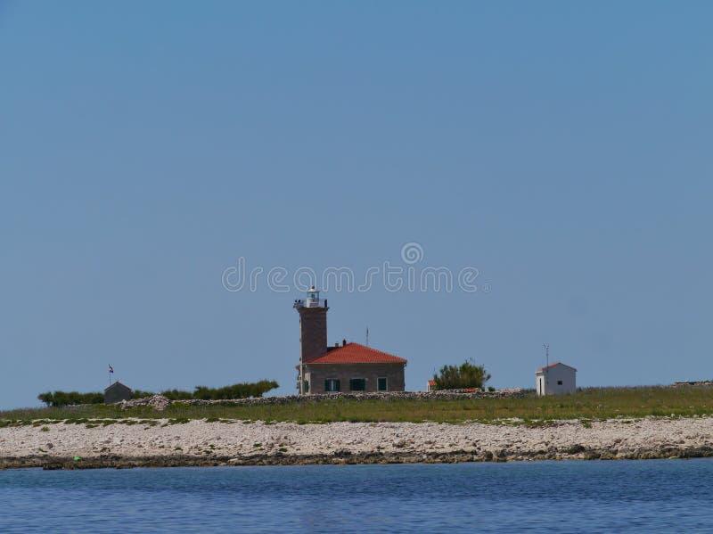 在地中海的Grujica灯塔 库存图片