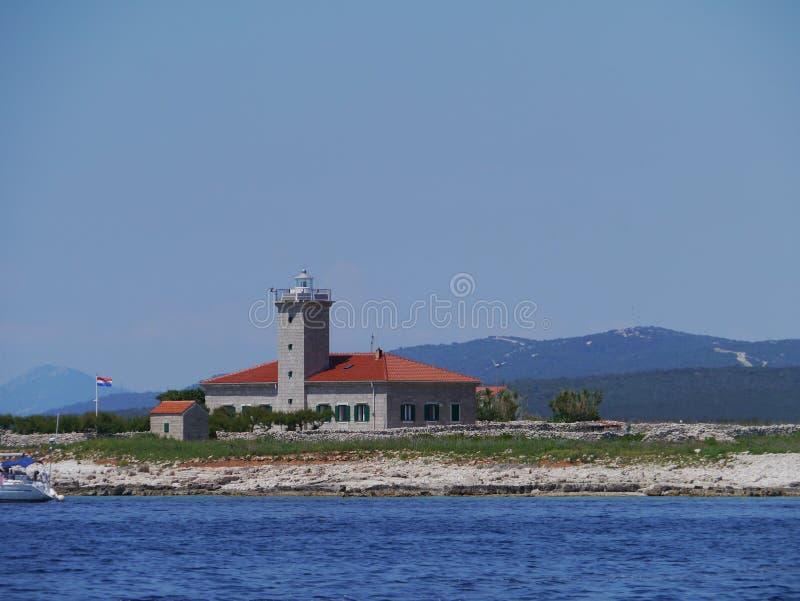 在地中海的Grujica灯塔 库存照片