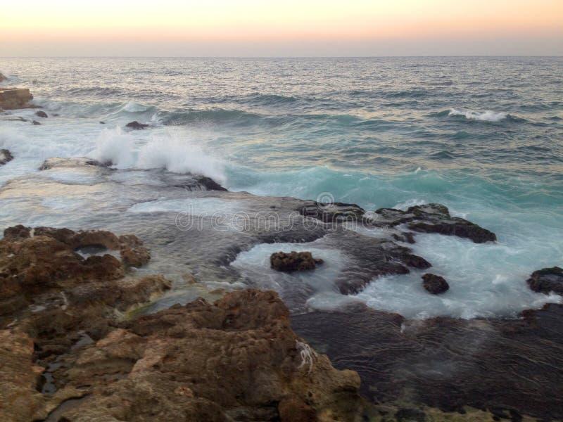 在地中海软的风景的五颜六色的日落 库存图片
