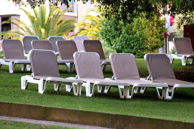 在地中海,晒日光浴的sunbeds的异乎寻常的海滩和放松在草在豪华旅游胜地旅馆热带庭院里  免版税库存图片