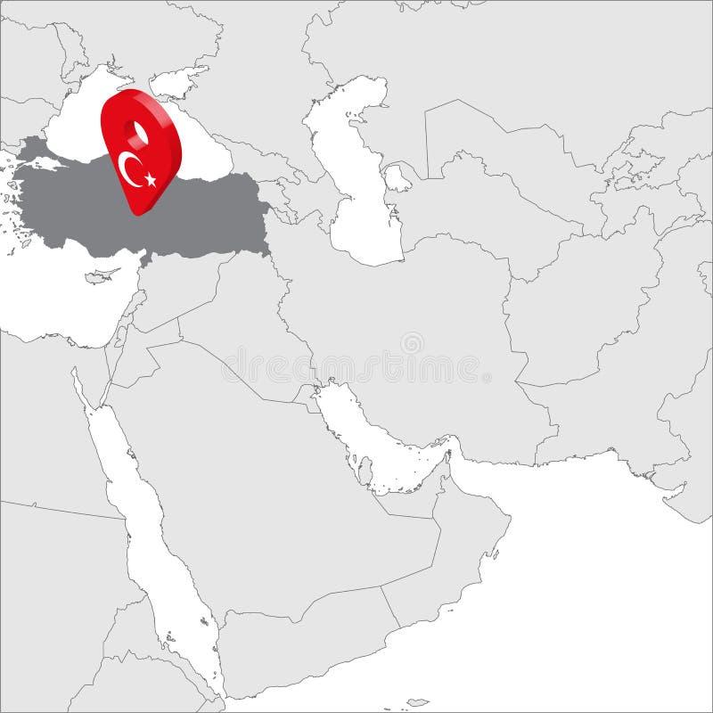 在地图亚洲的土耳其共和国定位图 3d土耳其旗子地图标志地点别针 土耳其的优质地图 皇族释放例证