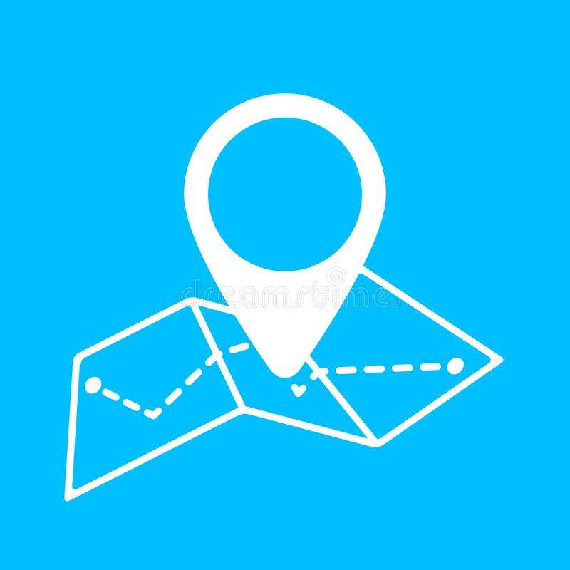 在地图传染媒介象的Geo标记 地图别针象线型 定位 向量例证