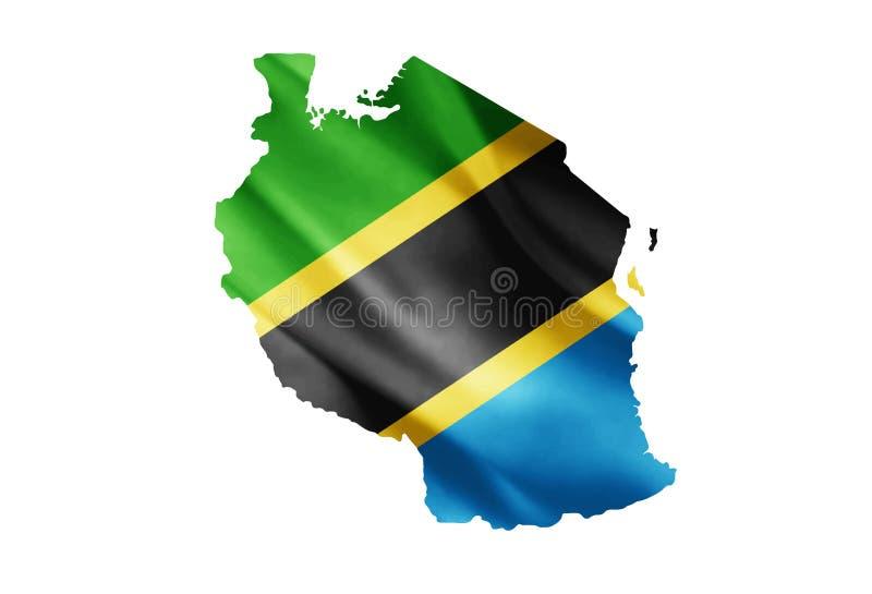 在地图内的坦桑尼亚旗子 免版税库存照片