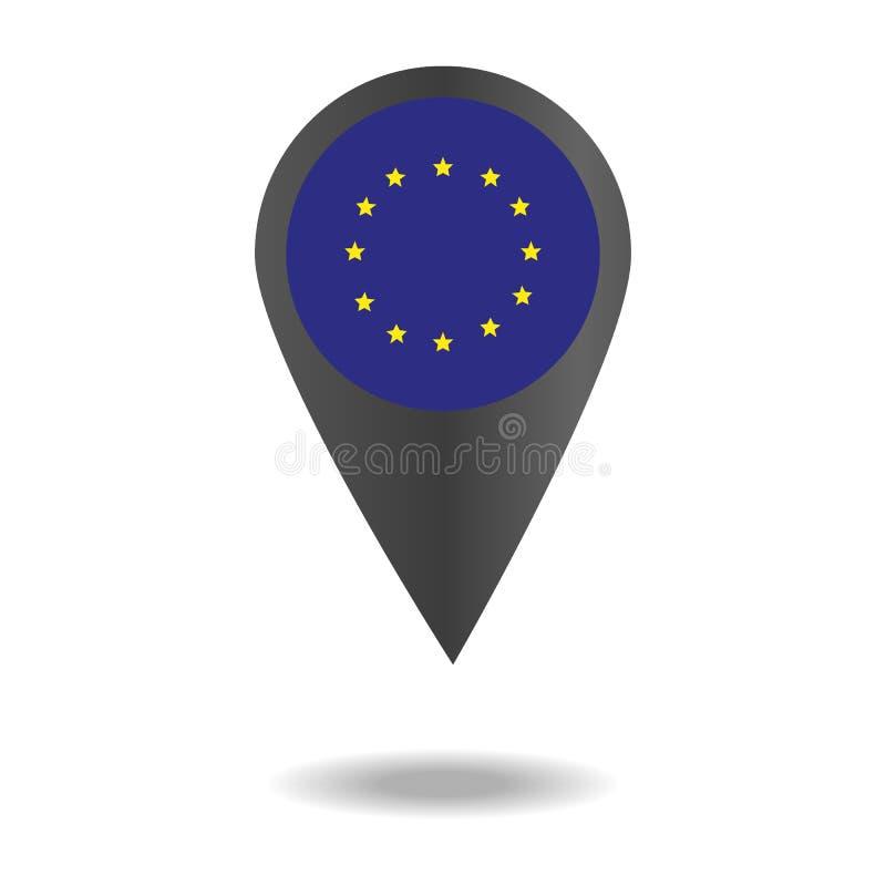 在地图尖或标志形状设置的旗子  国家(地区)不同的标志 向量例证