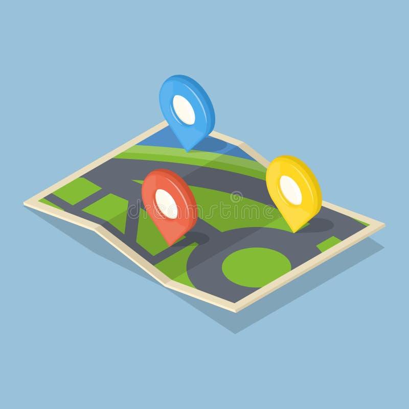 在地图的尖 GPS航海概念象 皇族释放例证