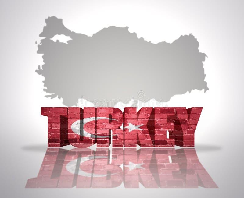 在地图背景的词土耳其 向量例证