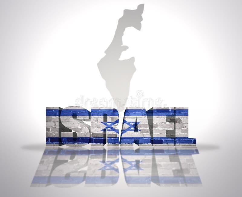 在地图背景的词以色列 库存例证