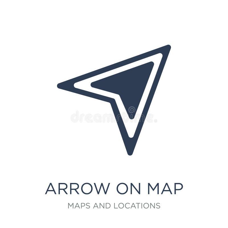 在地图象的箭头 在地图象的时髦平的传染媒介箭头在白色 库存例证