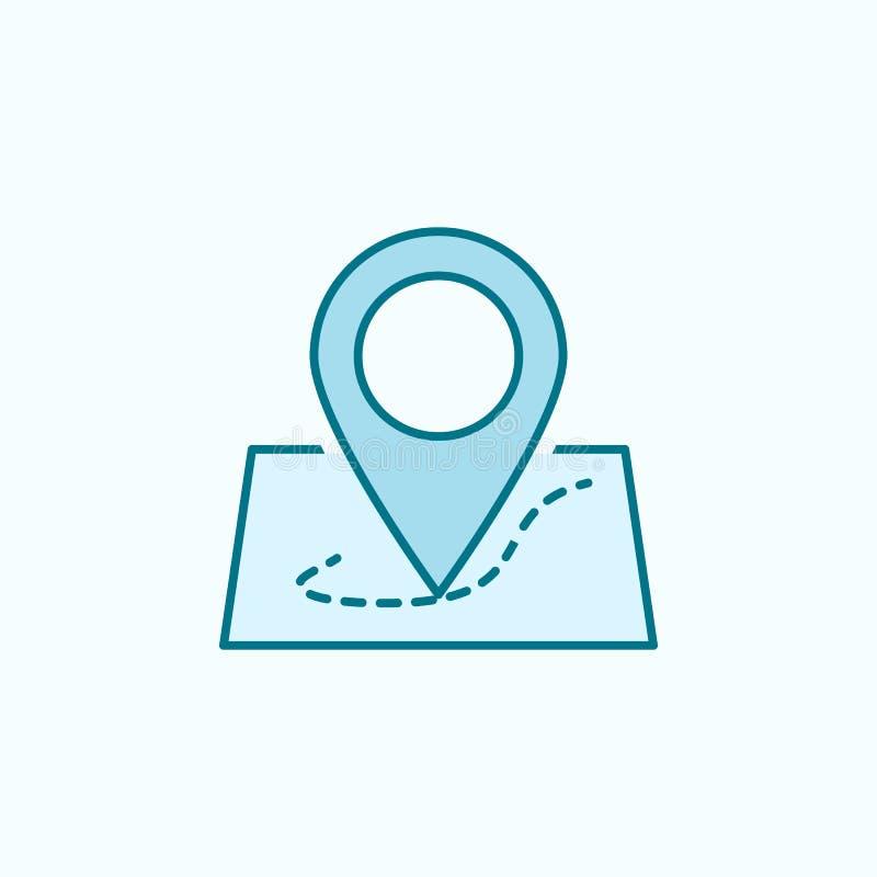 在地图2种族分界线象的别针 简单的色素例证 在地图概述标志设计的别针从被设置的网象 皇族释放例证