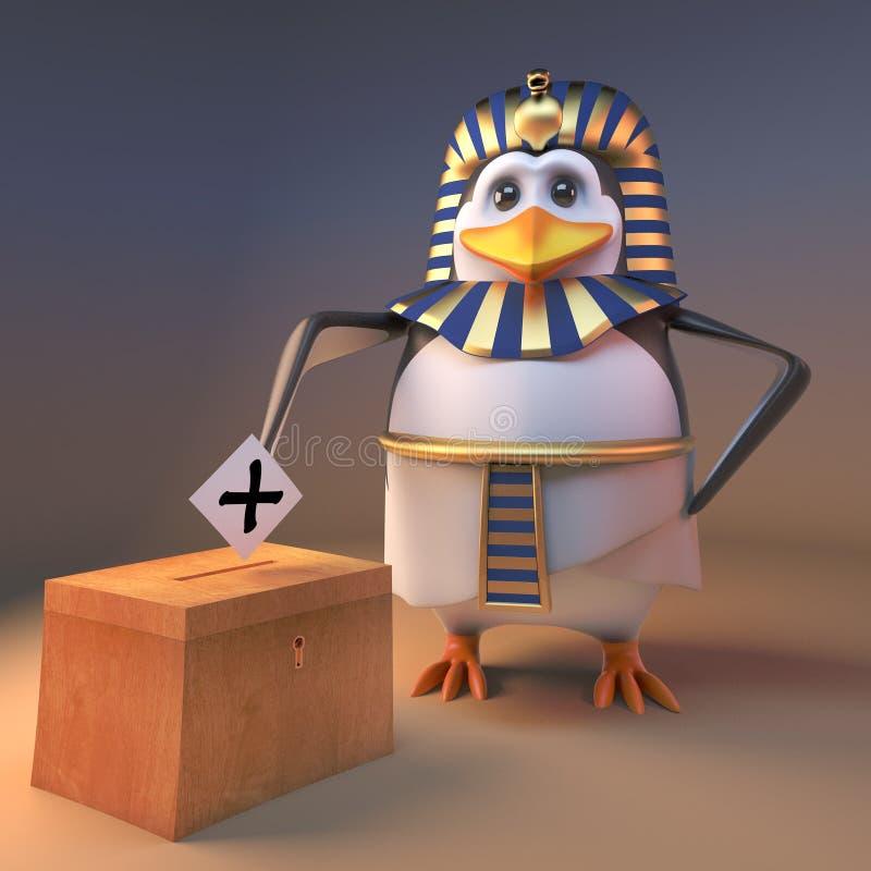 在地方选举,3d的民主党法老王企鹅Tutankhamun表决例证 皇族释放例证