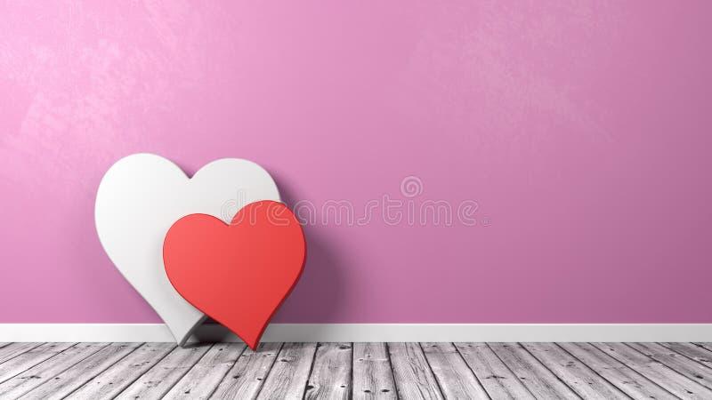 在地板上的两心脏形状 皇族释放例证