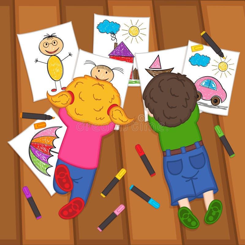 在地板上的儿童凹道 向量例证