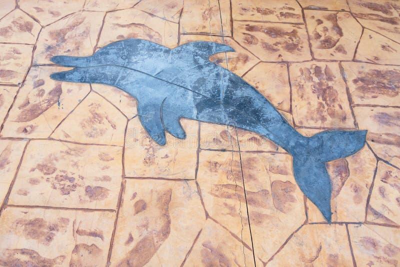 在地板上的海豚绘画向岩石样式纹理扔石头 泰国 免版税库存照片