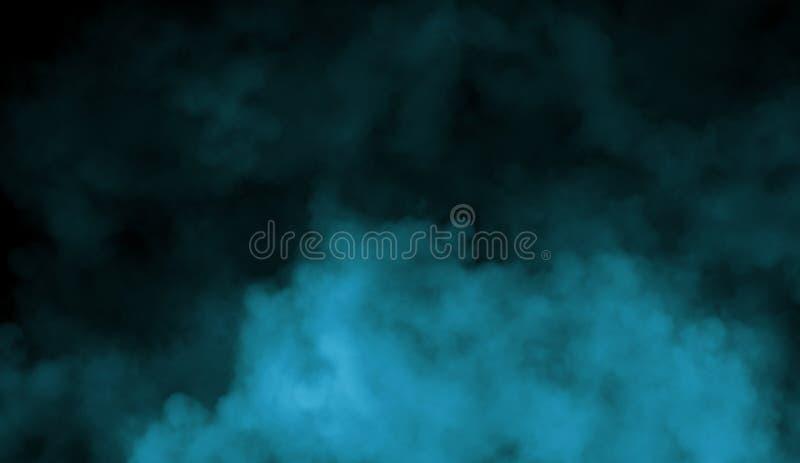在地板上的烟 查出的黑色背景 在黑背景的抽象蓝色烟薄雾雾 纹理 设计要素例证图象向量 免版税库存照片