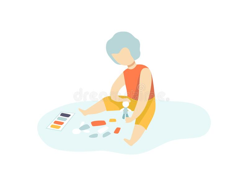 在地板上的男孩开会和做图由彩色塑泥和使用,孩子创造性,教育,发展传染媒介 皇族释放例证