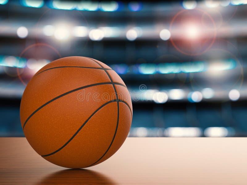 在地板上的篮球 库存例证