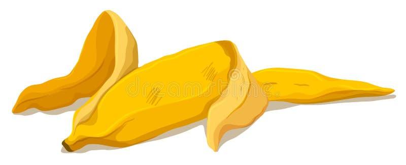 在地板上的香蕉皮 库存例证
