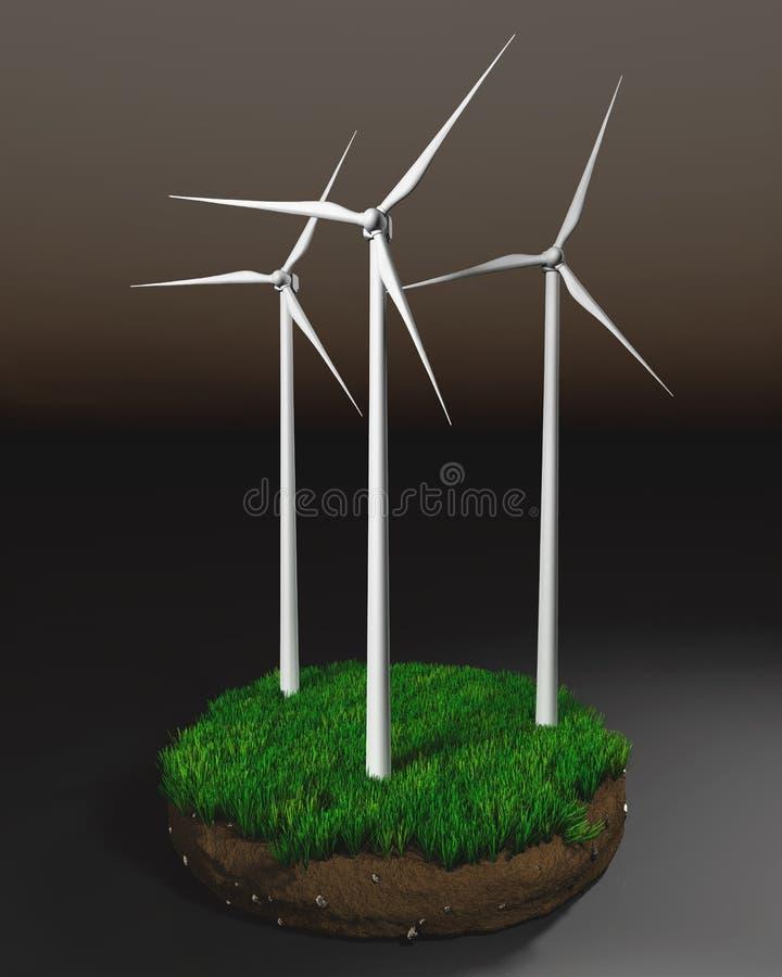 在地球土块的造风机  库存例证