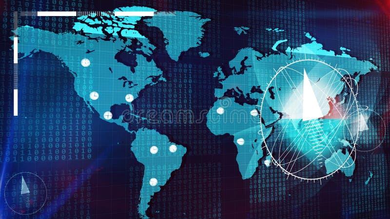 在地球地图和主要城市的大指南针 皇族释放例证