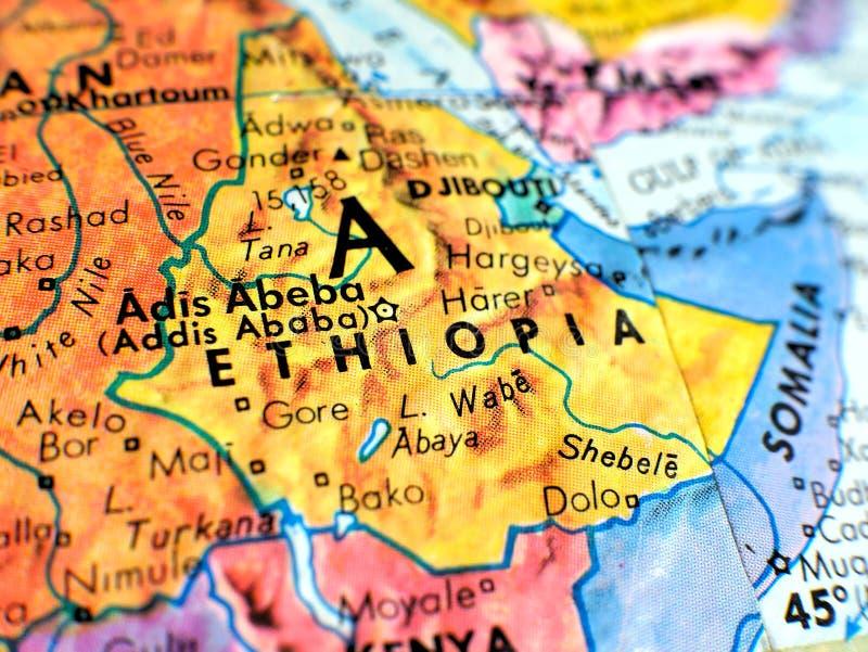 在地球地图的埃塞俄比亚非洲焦点宏观射击旅行博克、社会媒介、网站横幅和背景的 免版税库存图片