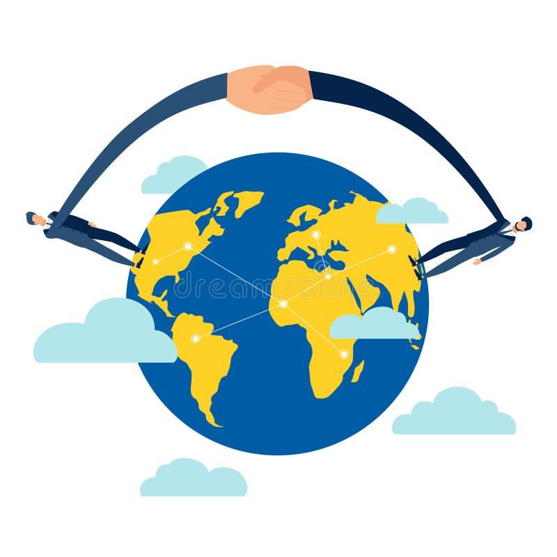 在地球地球传染媒介例证的握手 向量例证