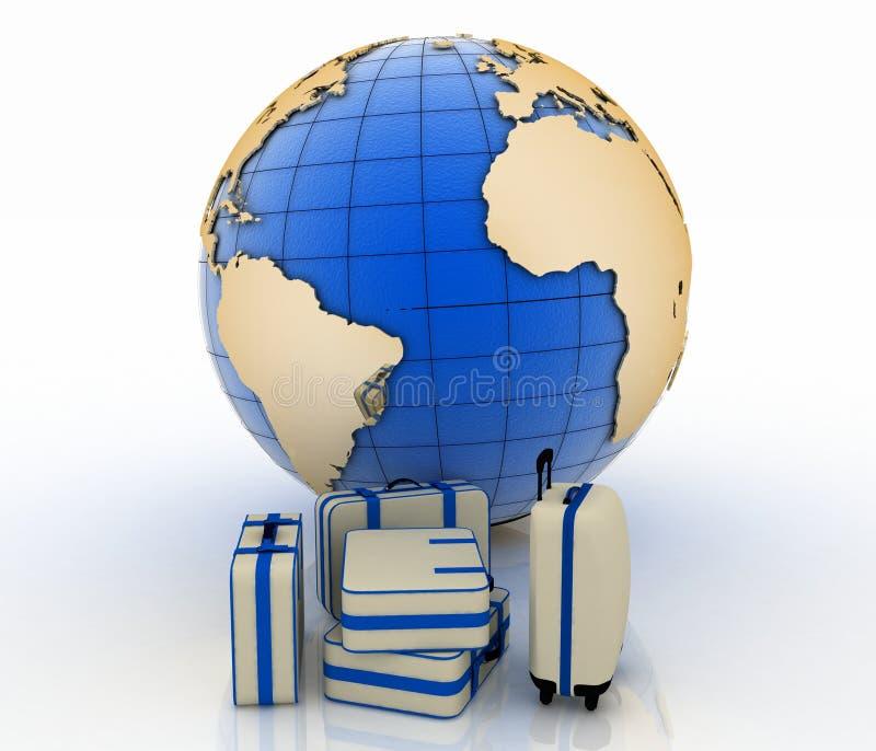 在地球地球前面的手提箱 皇族释放例证