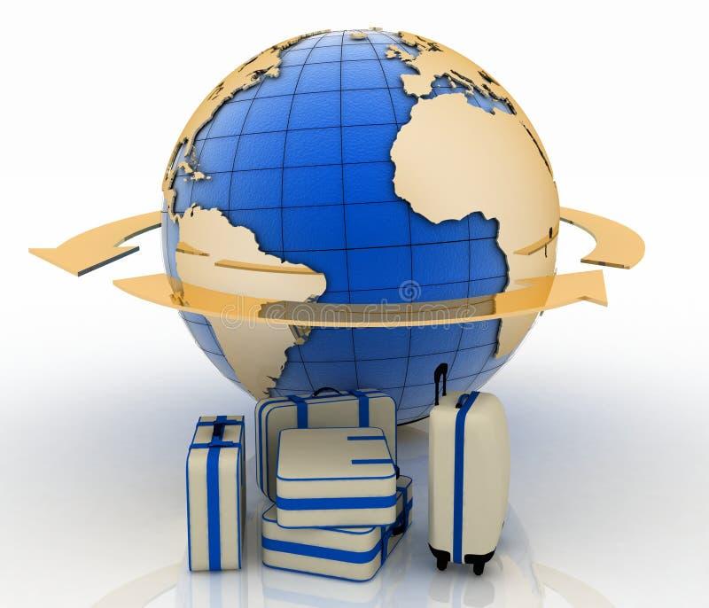 在地球地球和箭头前面的手提箱 皇族释放例证