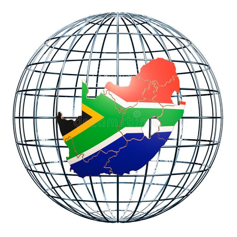 在地球地球的南非地图 3d翻译 皇族释放例证