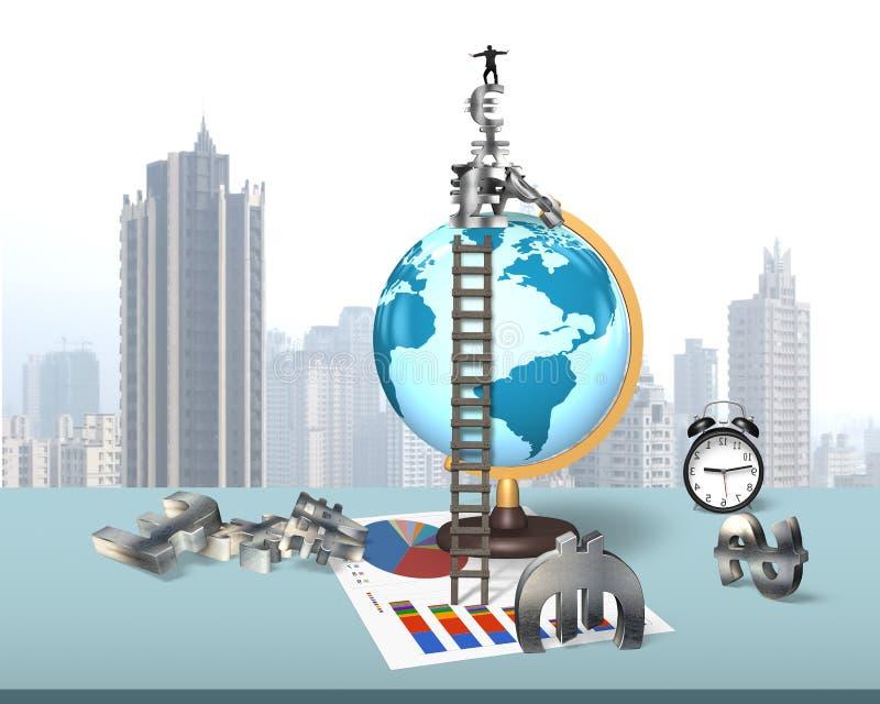 在地球地球的商人平衡的堆金钱标志 皇族释放例证