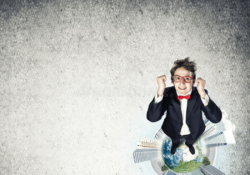 在地球地球的商人 免版税库存图片