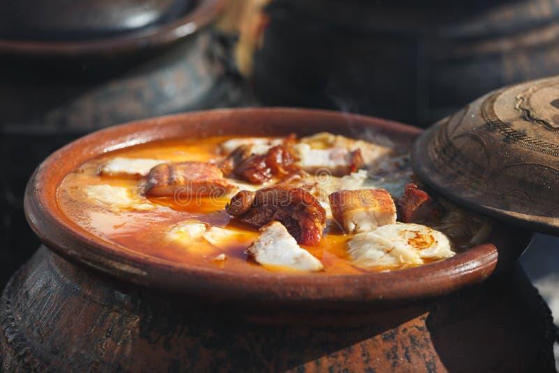 在地球大锅煮沸的传统塞尔维亚婚礼圆白菜 库存图片