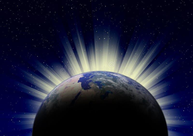 在地球的日出 皇族释放例证
