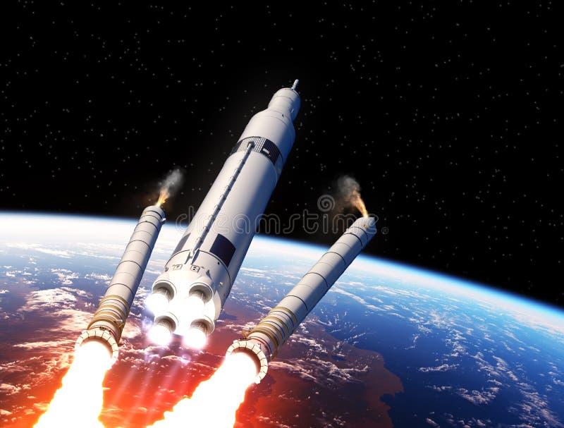 在地球的空间发射系统坚实火箭队助推器分离 向量例证