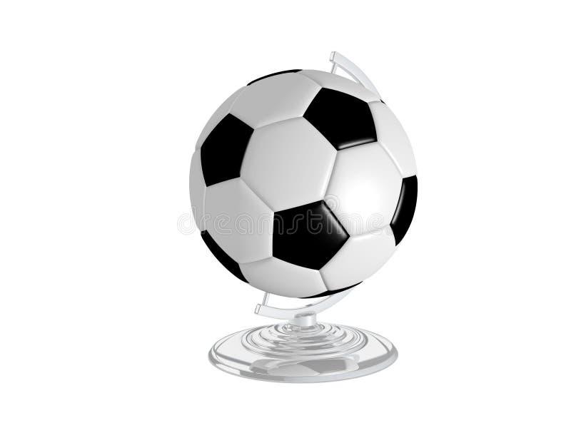 在地球立场的足球 向量例证