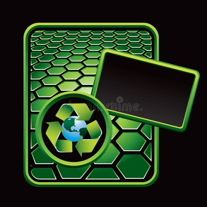 在地球绿色六角形附近的广告回收符&# 皇族释放例证