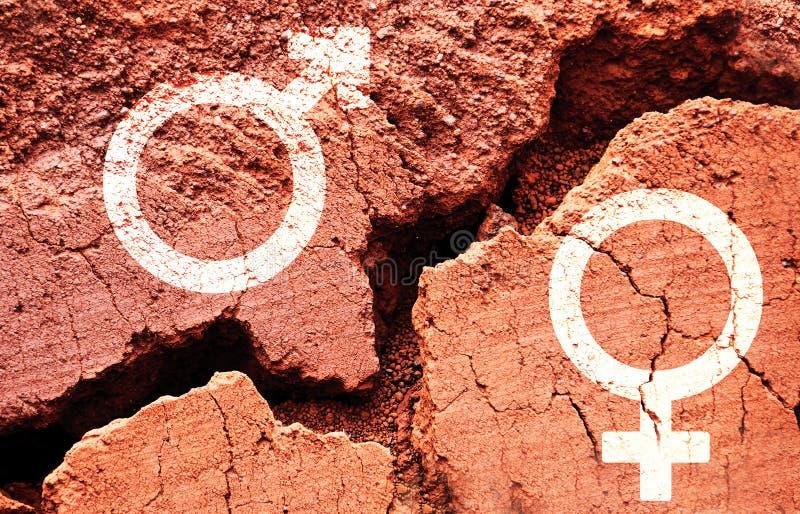 在地球背景的性别标志与一个大裂缝 免版税库存照片