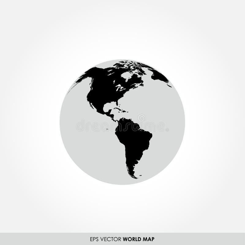 在地球象的世界地图 库存例证