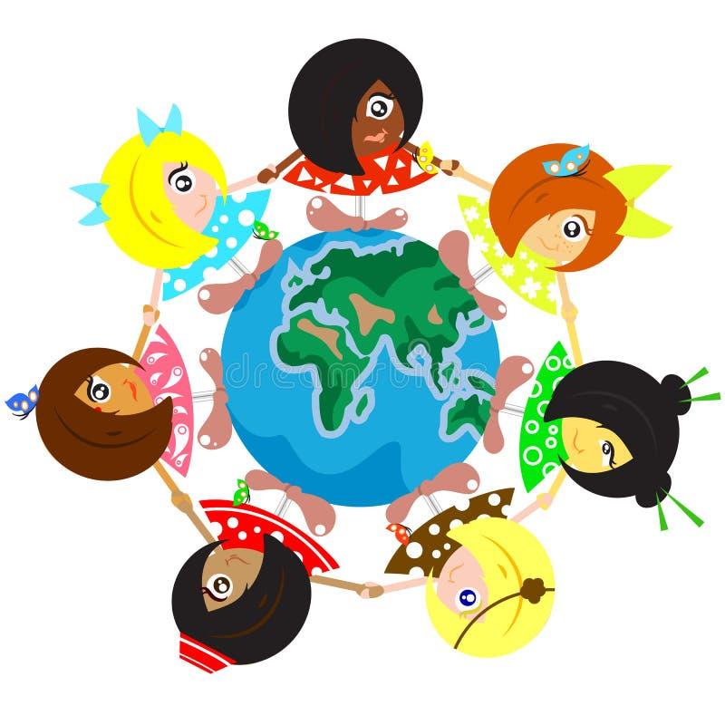 在地球附近的多文化孩子 皇族释放例证