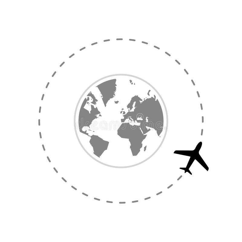 在地球附近的旅行路线与飞机 库存例证