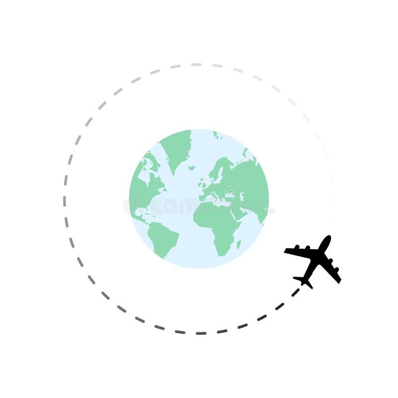在地球附近的旅行路线与飞机 皇族释放例证