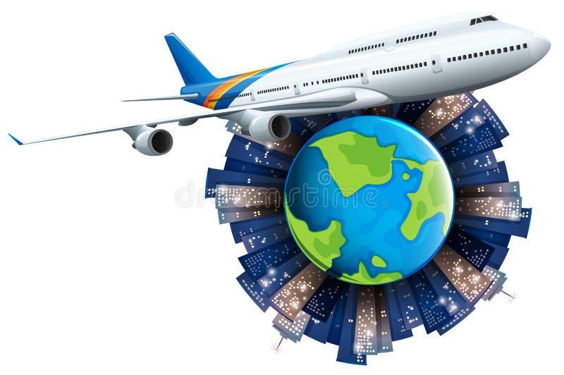 在地球附近的飞机飞行 库存例证