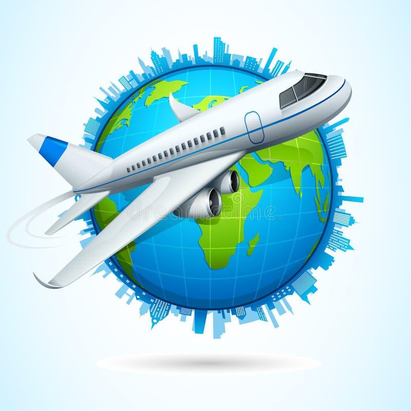 在地球飞行附近的飞机 向量例证